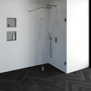 Saniclass Create Douche à litalienne 90x200cm sans profilé avec paroi latérale 30cm verre de sécurité anticalcaire 8mm Inox brossé mat 4JC2-90/30g