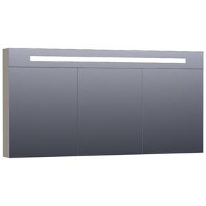 Saniclass Double Face Armoire de toilette 139x70x15cm éclairage intégré rectangulaire 3 portes pivotantes MDF Taupe mat 7355