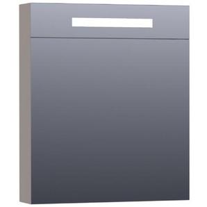 Saniclass Double Face Armoire de toilette 59x70x15cm éclairage intégré rectangulaire 2 portes pivotantes Taupe 7416R