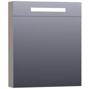 Saniclass Double Face Armoire de toilette 60x70cm éclairage intégré rectangulaire 1 portes pivotantes MDF Taupe mat 7350