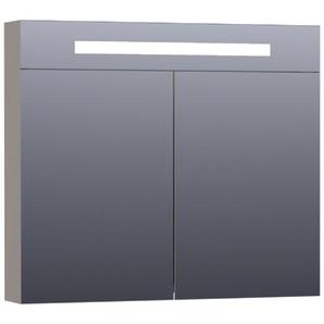 Saniclass Double Face Armoire de toilette 80x70cm éclairage intégré rectangulaire 2 portes pivotantes MDF Taupe mat 7352