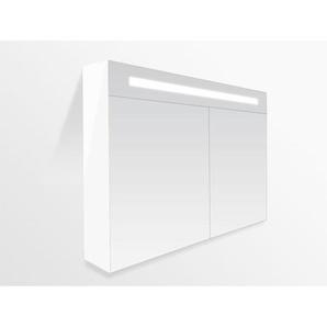 Saniclass Double Face Armoire de toilette avec miroir 99cm 2 portes Blanc brillant 7072