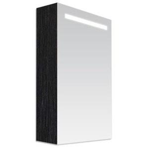 Saniclass Double Face Armoire toilette 60x70x15cm avec 1 porte gauche et éclairage LED Black Wood 7063L