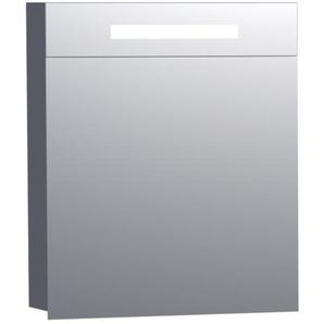 Saniclass Double Face Armoire toilette 60x70x15cm avec 1 porte gauche et éclairage LED gris haute brillance 7516L