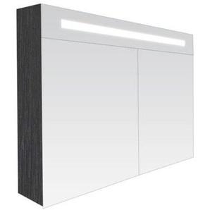 Saniclass Double Face Armoire toilette 80x70x15cm avec 2 portes et éclairage LED Black Wood 7064