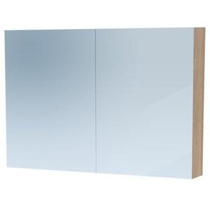 Saniclass Dual Armoire de toilette 100x70x15cm avec éclairage LED indirect 2 portes Legno Calore 7770