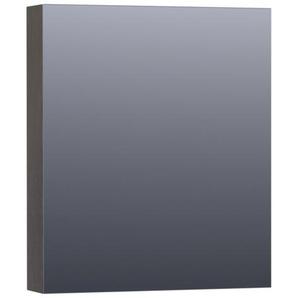 Saniclass Dual Armoire de toilette 59x70x15cm éclairage intégré rectangulaire 1 portes pivotantes MFC Black Diamond 7410R