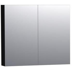 Saniclass Dual Armoire de toilette 80x70cm MDF Noir brillant 7164