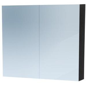Saniclass Dual Armoire de toilette 80x70x15cm avec éclairage LED indirect 2 portes Black Wood 7767