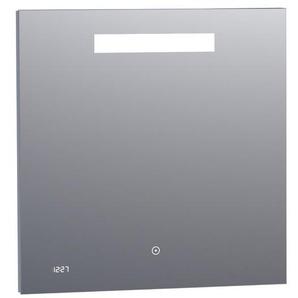 Saniclass Exclusive Line Clock Miroir 70x70cm avec éclairage et horloge aluminium 3870s