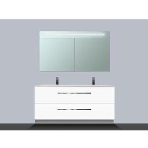 Saniclass Exclusive Line Kera Meuble avec armoire miroir 120cm 2 tiroirs Blanc SW8343