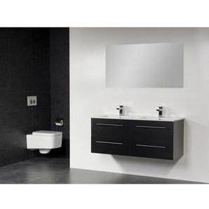 Saniclass Exclusive Line Kera Meuble salle de bain avec miroir 120cm 4 tiroirs Black Diamond