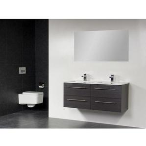 Saniclass Exclusive Line kera Meuble salle de bain avec miroir 120cm 4 tiroirs Black Wood