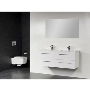 Saniclass Exclusive Line Kera Meuble salle de bain avec miroir 120cm 4 tiroirs Blanc SW2126