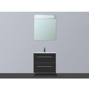 Saniclass Exclusive Line Meuble avec armoire miroir 60cm 1 trou pour robinetterie D Black Diamond