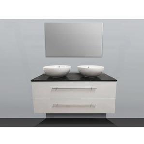 Saniclass Exclusive Line Meuble salle de bain avec miroir 120cm 2 vasques à poser Black Diamond SW2331