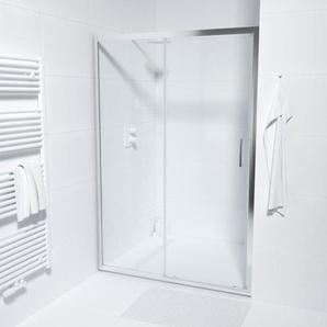 Saniclass ID06 Quick fit Porte coulissante 130x190cm verre de sécurité 6mm anti-calcaire profilé chrome SAQ6121-130