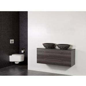 Saniclass Legno Set meuble salle de bain 119x50x45.5cm sans trous 2 vasques Corestone 13 bouchardé 2 tiroirs avec amortisseur sans miroir MFC anthracite LEGNO169