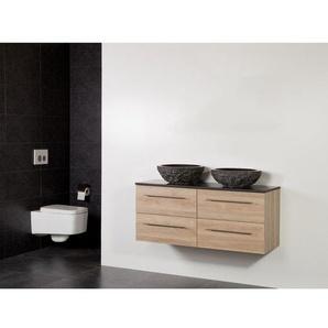 Saniclass Legno Set meuble salle de bain 119x50x45.5cm sans trous 2 vasques Corestone 13 bouchardé 4 tiroirs avec amortisseur sans miroir MFC calore LEGNO160