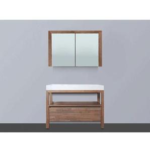 Saniclass Natural Wood Meuble avec armoire miroir 100cm Grey Oak avec vasque Blanche sans trou pour robinetterie SW8015