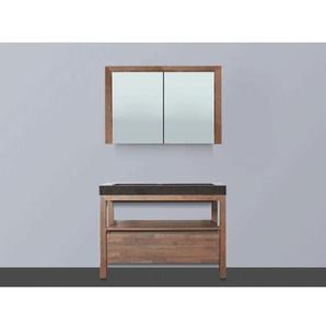 Saniclass Natural Wood Meuble avec armoire miroir 100cm Grey Oak vasque en pierre naturelle Black Spirit sans trou pour robinetterie