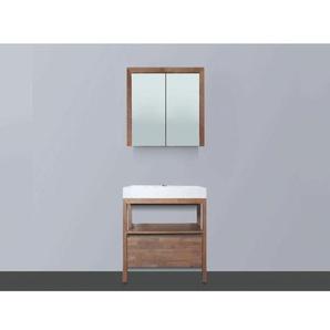 Saniclass Natural Wood Meuble avec armoire miroir 60cm Grey Oak avec vasque Blanche 1 trou pour robinetterie