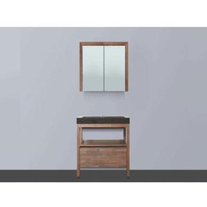 Saniclass Natural Wood Meuble avec armoire miroir 60cm Grey Oak vasque en pierre naturelle Black Spirit 1 trou pour robinetterie