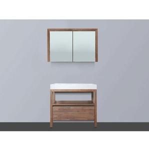 Saniclass Natural Wood Meuble avec armoire miroir 80cm Grey Oak avec vasque Blanche sans trou pour robinetterie SW8053
