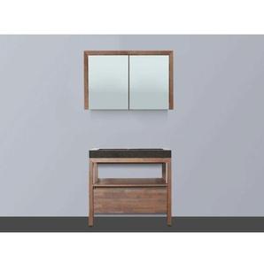 Saniclass Natural Wood Meuble avec armoire miroir 80cm Grey Oak avec vasque en pierre naturelle Black Spirit sans trou pour robinetterie