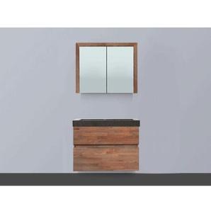 Saniclass Natural Wood Meuble avec armoire miroir 80cm modèle suspendu Grey Oak avec vasque en pierre naturelle Black Spirit sans trou pour robinetterie