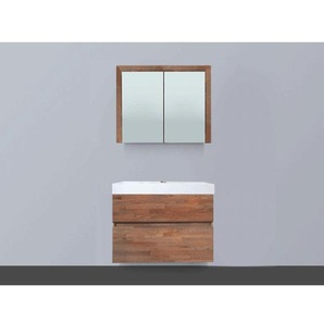 Saniclass Natural Wood Meuble avec armoire miroir 80cm suspendu Grey Oak avec vasque Blanc 1 trou pour robinetterie SW8073