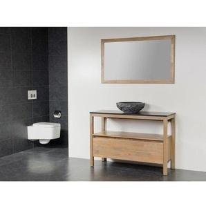 Saniclass Natural Wood Meuble salle de bain avec miroir 100cm Grey Oak avec vasque à poser en pierre naturelle