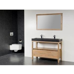 Saniclass Natural Wood Meuble salle de bain avec miroir 100cm Grey Oak avec vasque en pierre naturelle Black Spirit 2 trous pour robinetterie