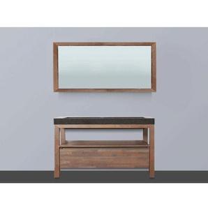 Saniclass Natural Wood Meuble salle de bain avec miroir 120cm Grey Oak avec vasque en pierre naturelle Black Spirit