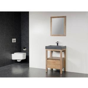 Saniclass Natural Wood Meuble salle de bain avec miroir 60cm Grey Oak avec vasque en pierre naturelle Grey stone 1 trou pour robinetterie SW3186