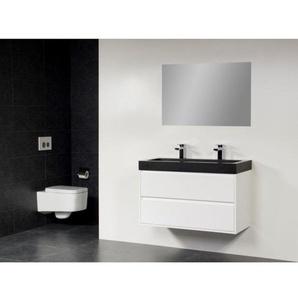 Saniclass New Future Black Spirit Meuble avec Miroir 100cm avec miroir Blanc brillant