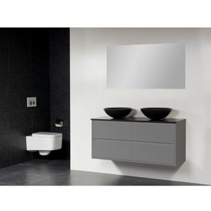 Saniclass New Future Corestone13 Meuble salle de bain avec vasque à poser noi 120cm avec miroir gris