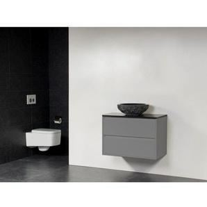 Saniclass New Future Corestone13 Vasque à poser martelé Meuble salle de bains 80cm sans miroir gris