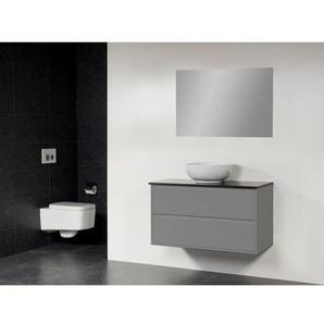 Saniclass New Future Kos Meuble salle de bain avec vasque à poser blanc 100cm brillant avec miroir gris