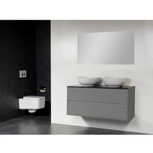 Saniclass New Future Kos Meuble salle de bain avec vasque à poser blanc 120cm brillant avec miroir gris