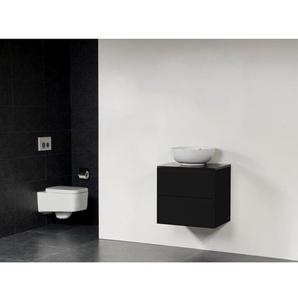 Saniclass New Future Kos Vasque à poser blanc Meuble salle de bains 60cm sans miroir noir brillant