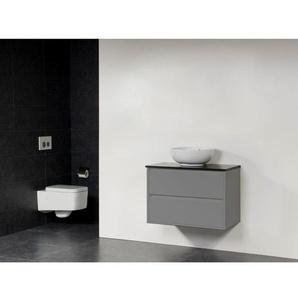 Saniclass New Future Kos Vasque à poser blanc Meuble salle de bains 80cm sans miroir gris brillant