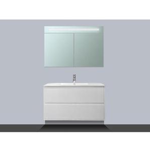 Saniclass New Future Meuble avec armoire miroir 100cm Blanc brillant
