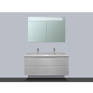 Saniclass New Future Meuble avec armoire miroir 120cm Blanc brillant