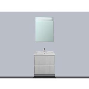 Saniclass New Future Meuble avec armoire miroir 60cm porte ouvre vers la droite Blanc