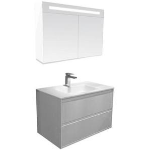Saniclass New Future Meuble avec armoire miroir 80cm Blanc brillant