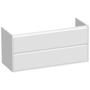 Saniclass New Future Meuble sous lavabo 119x45.5x55cm sans poignées suspendu avec 2 tiroirs frein de chute et 1 trou pour siphon MDF blanc brillant 10609
