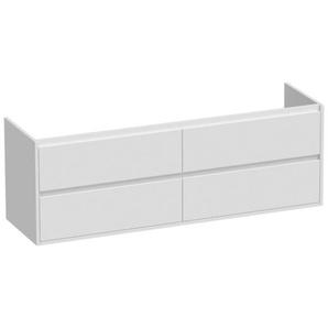 Saniclass New Future Meuble sous-lavabo 160x55x45.5cm avec 4 tiroirs sans poignées 2 trous de siphon Blanc brillant 10612