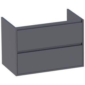 Saniclass New Future Meuble sous lavabo 80.2x45.5x55cm sans poignées suspendu avec 2 tiroirs frein de chute MDF gris brillant 1181