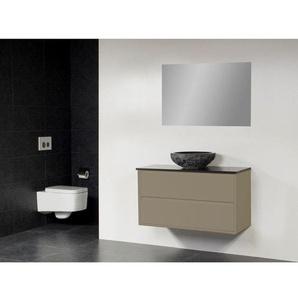 Saniclass New Future XXS Corestone13 Meuble salle de bain avec vasque à poser martelé 100cm avec miroir taupe